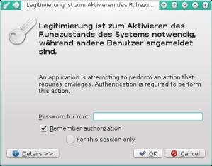 Legitimierung ist zum Aktivieren des Ruhezustands des Systems notwendig, während andere Benutzer angemeldet sind. – PolicyKit1-KDE_016